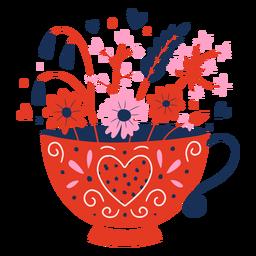 Tasse Blumen flach