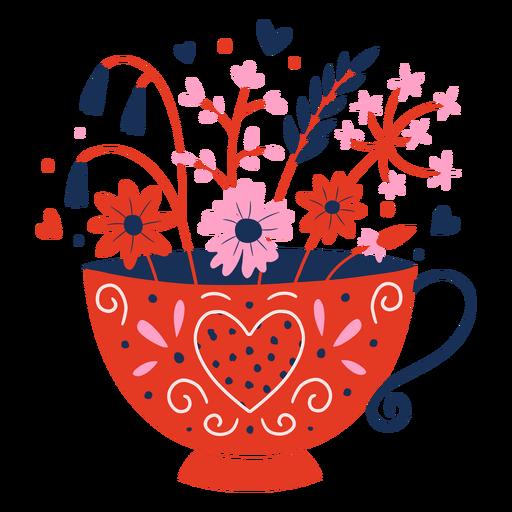 Taza de flores plana