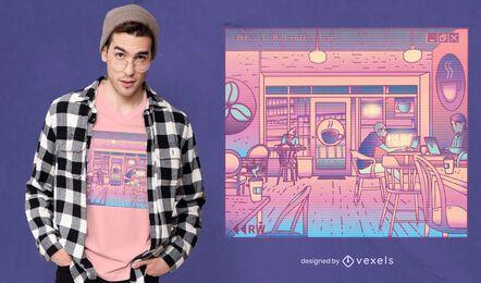 Diseño de camiseta de cafetería vaporwave.