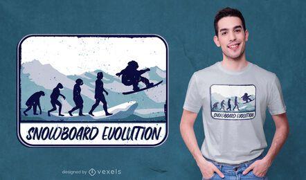 Diseño de camiseta snowboard evolution
