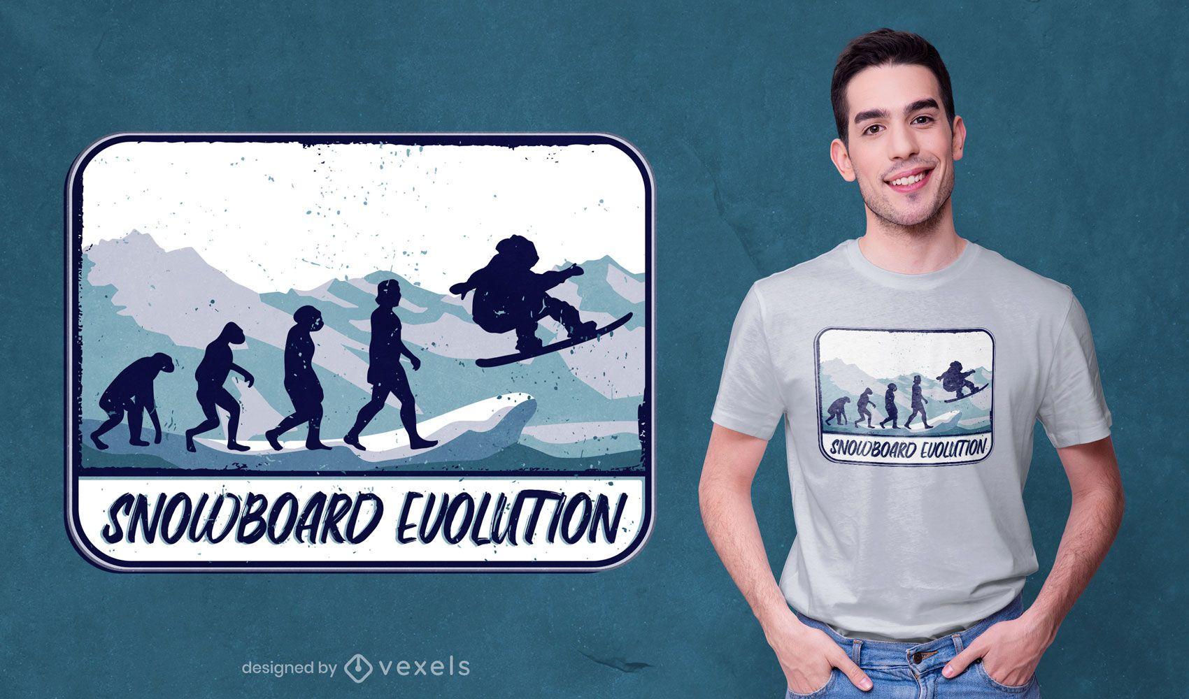 Snowboard evolution t-shirt design