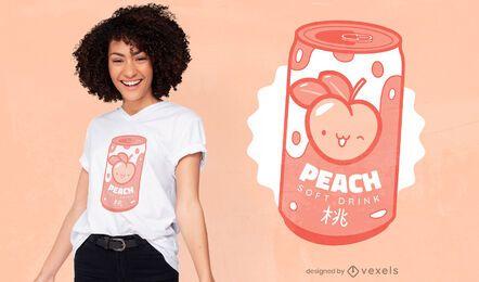 Design de camiseta com refrigerante pêssego