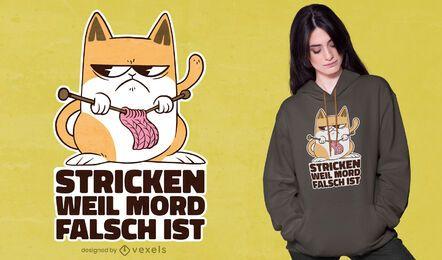 Design de t-shirt de tricô para gato
