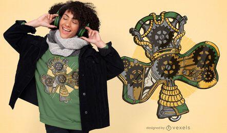 Design de camiseta trevo Steampunk