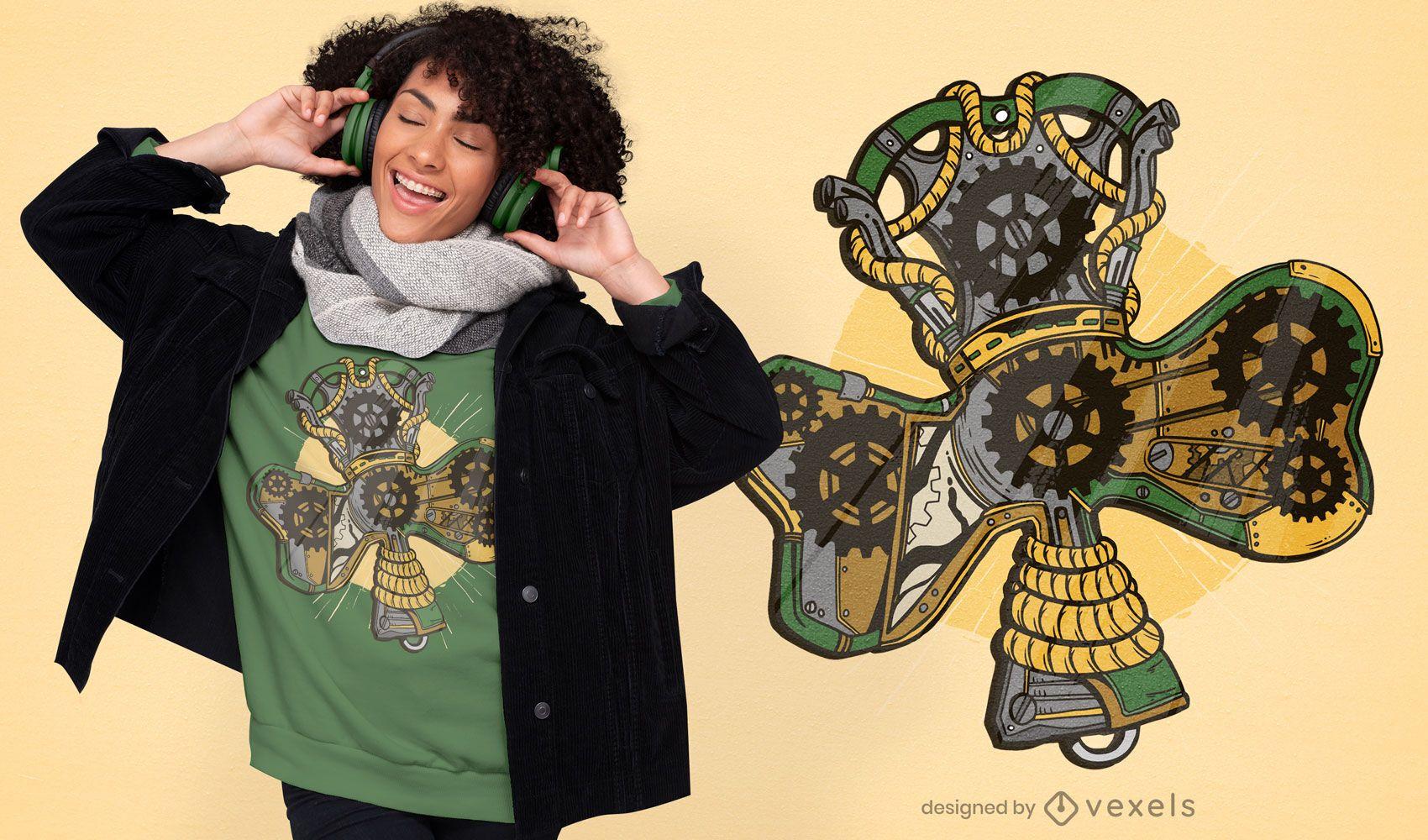 Steampunk shamrock t-shirt design