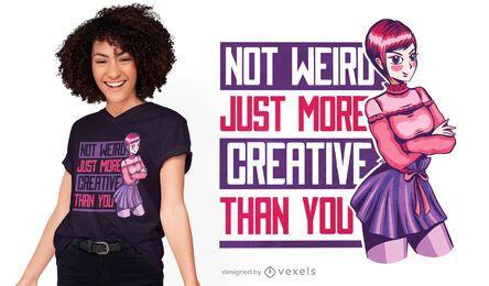 Design criativo de camisetas de anime