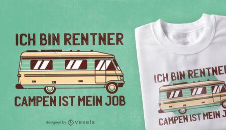 Design de camiseta de acampamento alemão com citações