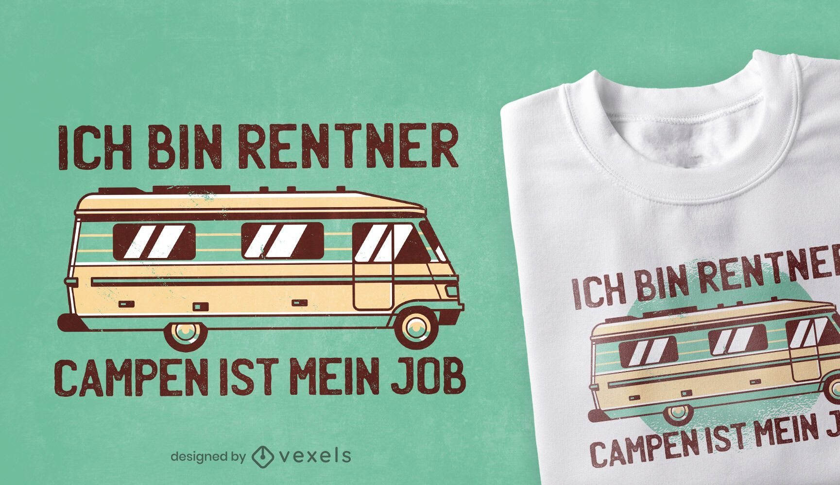 Diseño de camiseta con cita alemana de camping