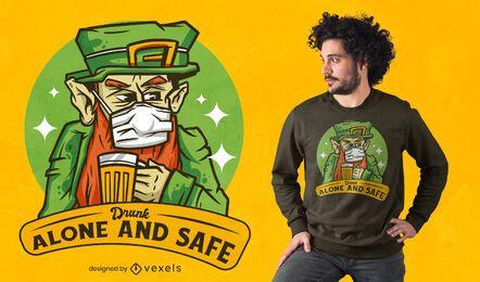 Design de camiseta bêbado sozinho