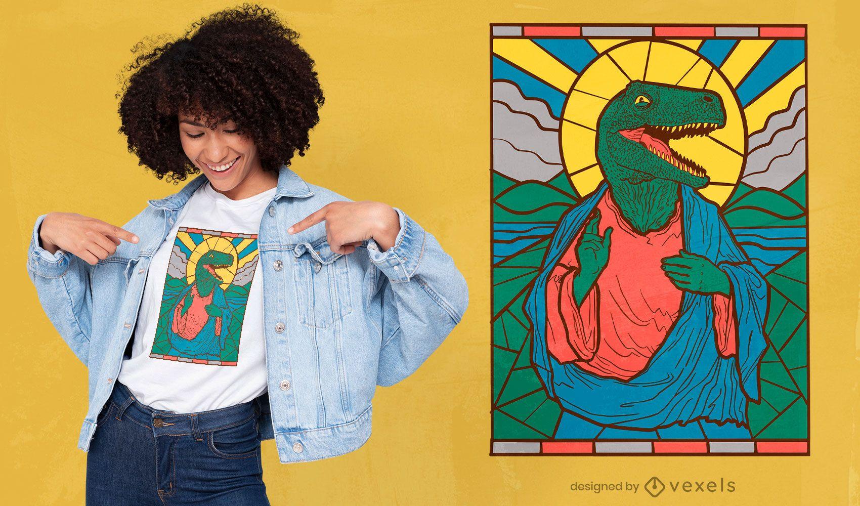 Diseño de camiseta de dinosaurio Jesús