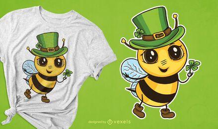 Design fofo de camiseta de abelha irlandesa