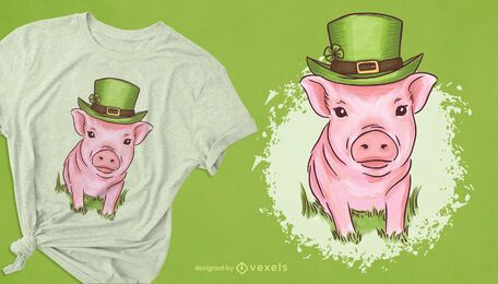 St Patrick's mini pig t-shirt design