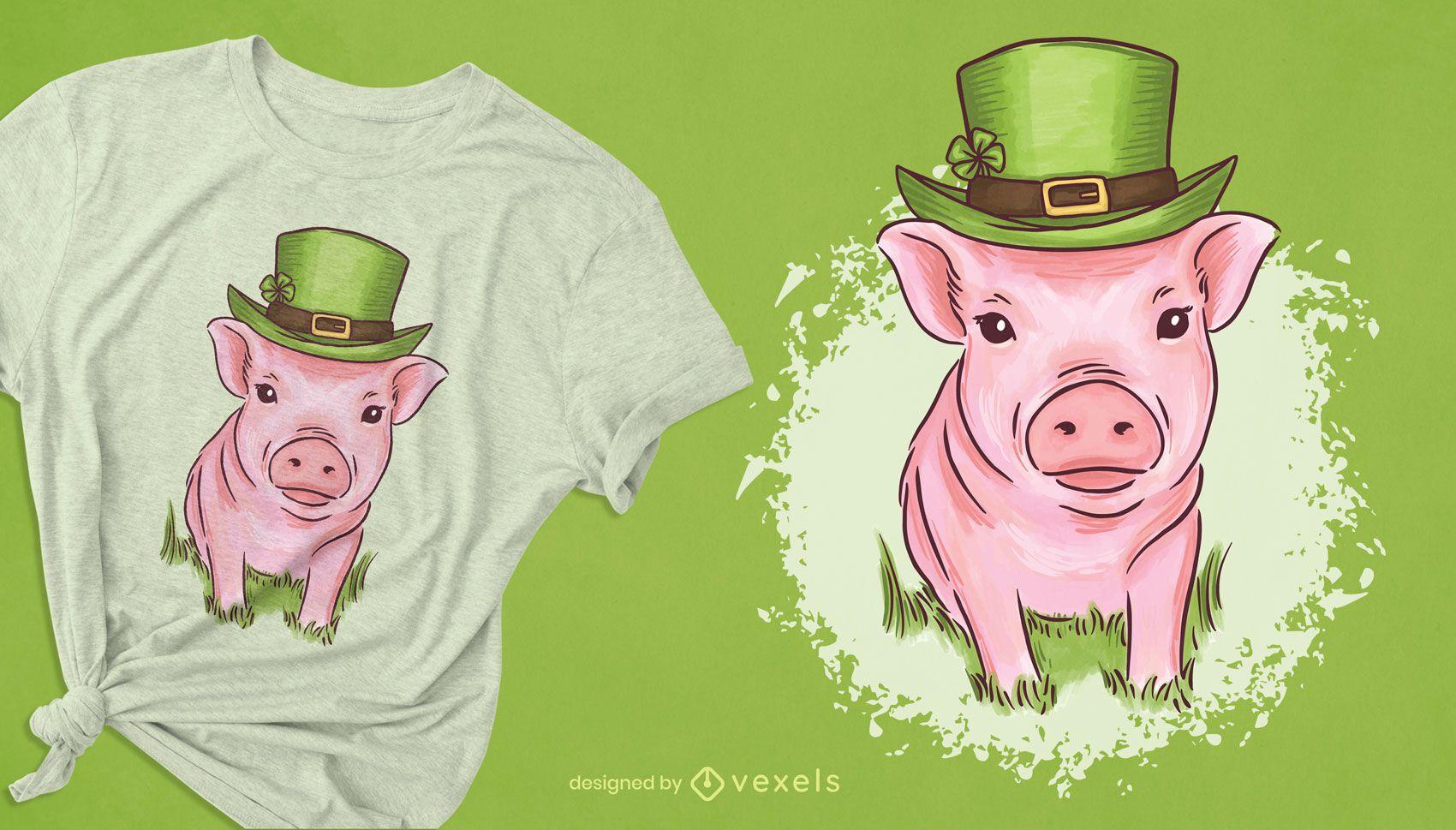 Diseño de camiseta de mini cerdo de St Patrick
