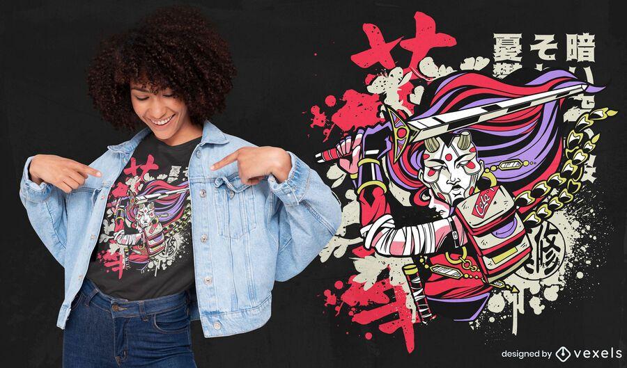 Diseño de camiseta de guerrero asiático