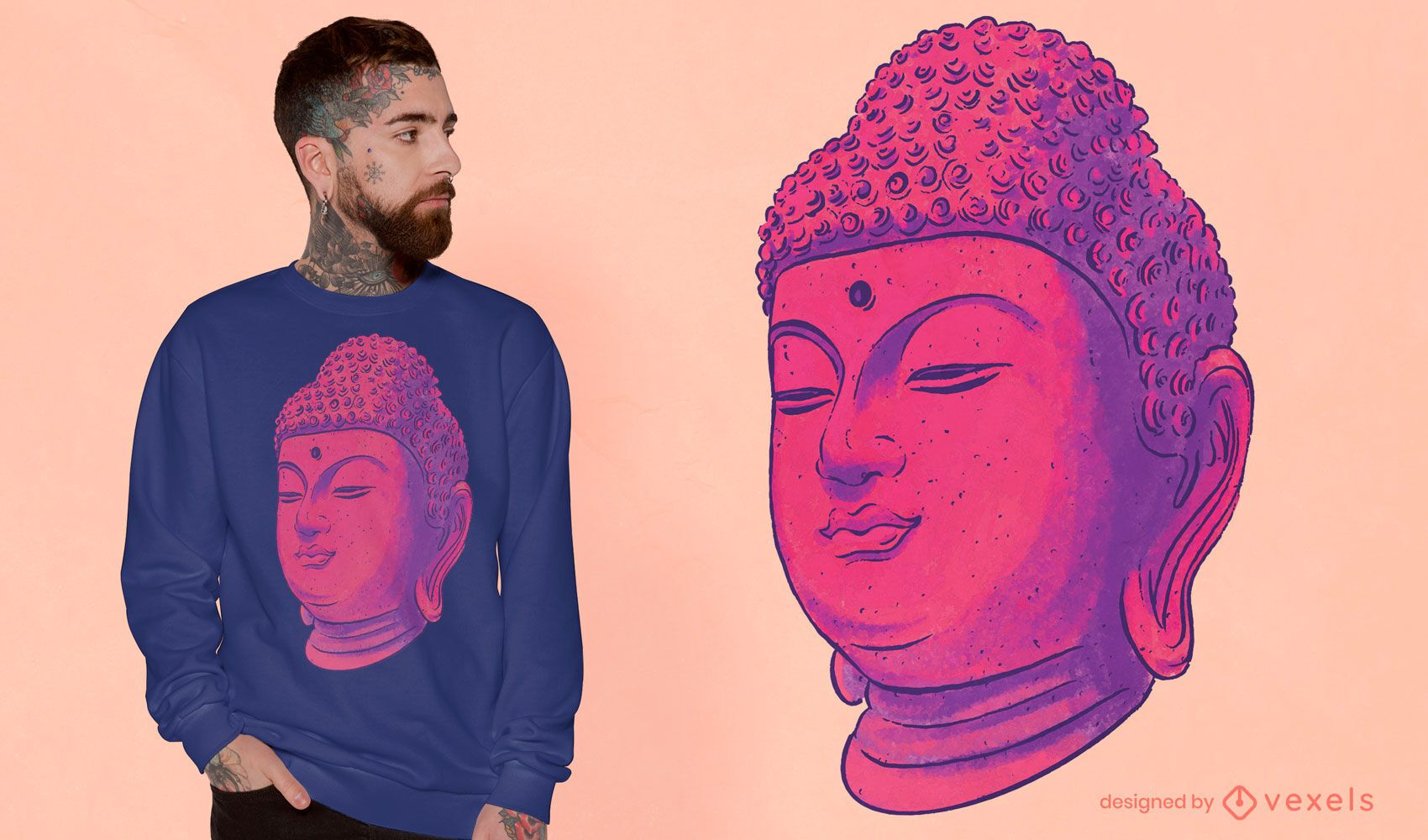 Colorful Buddha t-shirt design