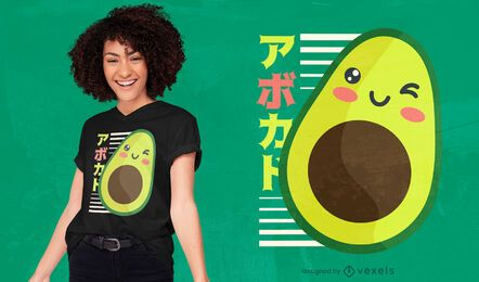Diseño de camiseta de aguacate kawaii