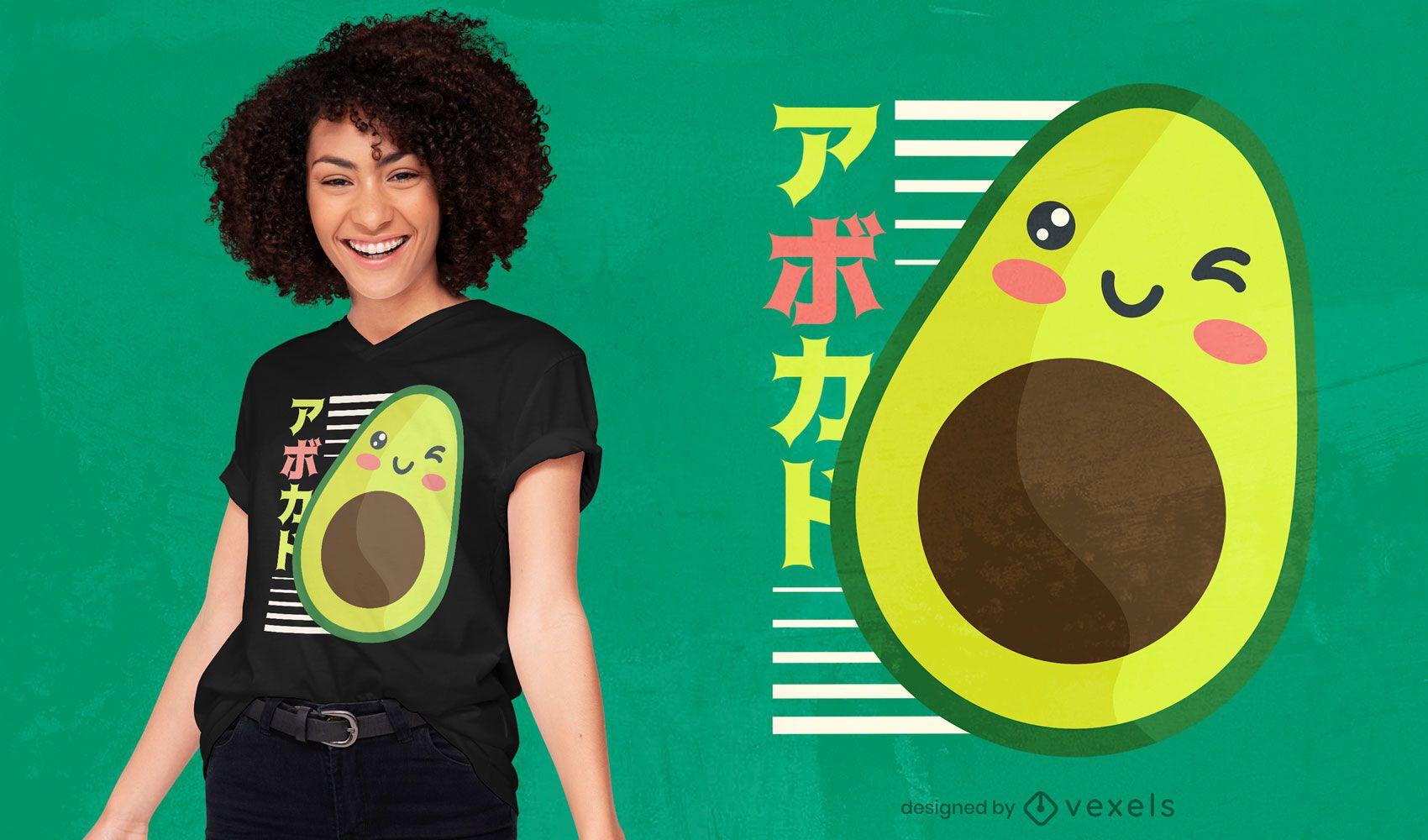 Dise?o de camiseta de aguacate kawaii