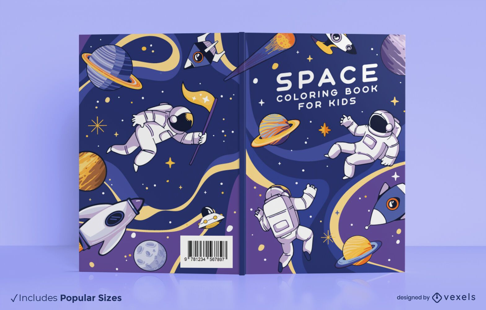Diseño de portada de libro para colorear espacial
