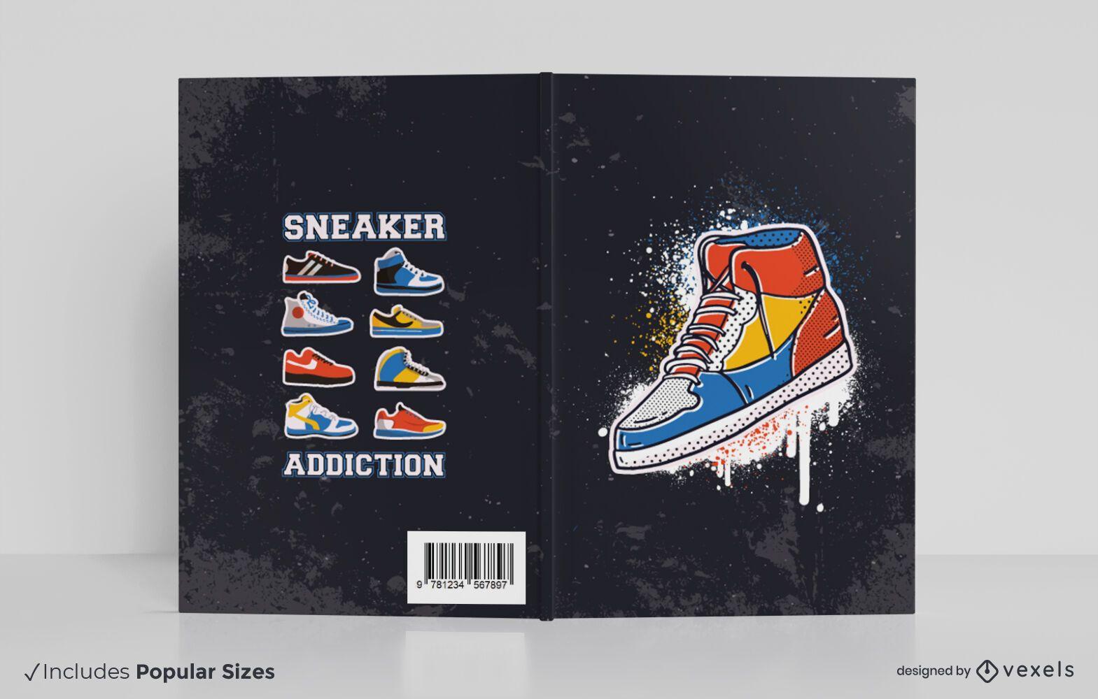 Diseño de portada de libro de adicción a las zapatillas