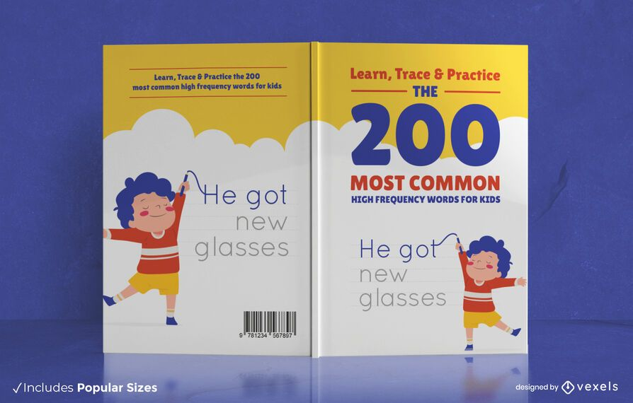Diseño de portada de libro de 200 palabras comunes