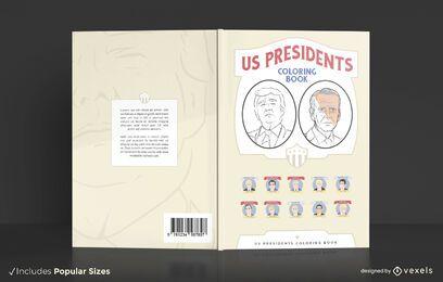 Projeto da capa do livro para colorir dos presidentes dos EUA