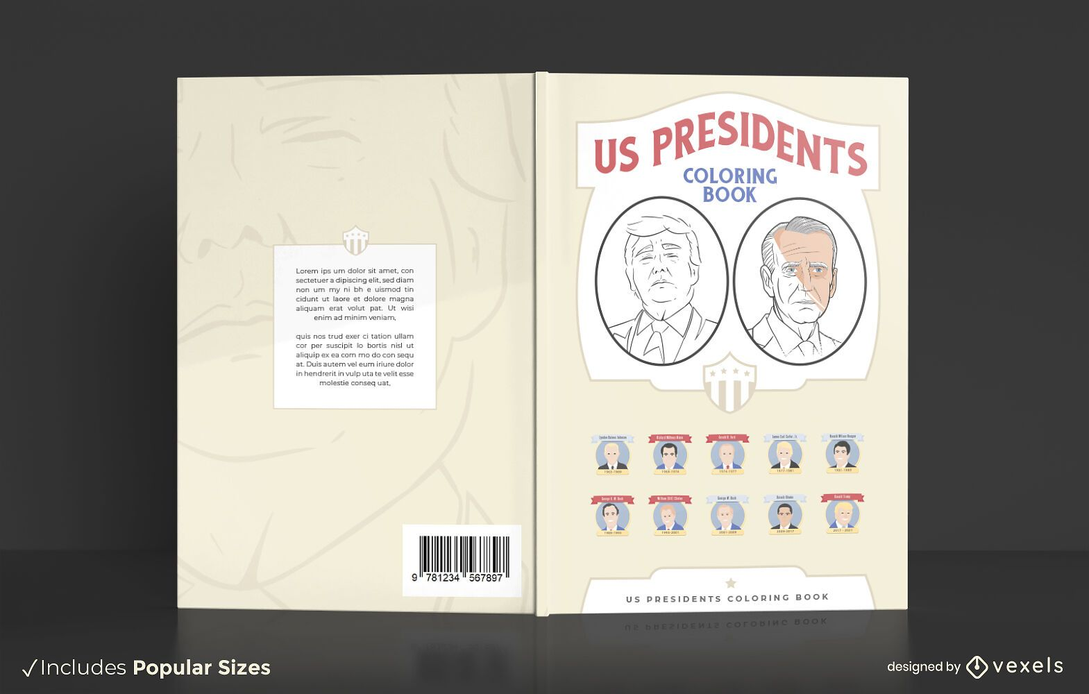 Presidentes de Estados Unidos para colorear diseño de portada de libro