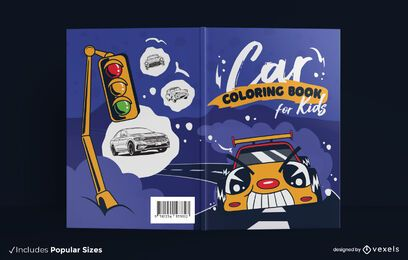 Car coloring book cover design