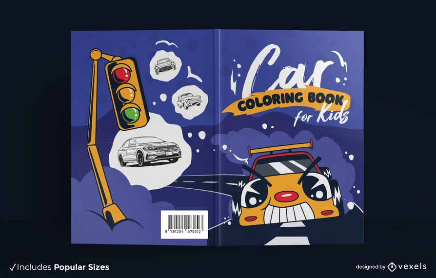 Design de capa de livro para colorir de carro