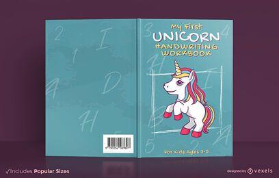 Diseño de portada de libro de trabajo de escritura a mano de unicornio
