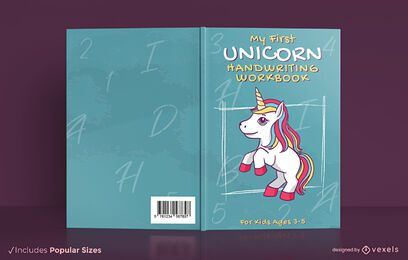 Unicorn handwriting work book cover design
