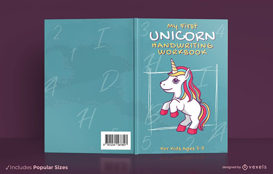 Unicorn handwriting work book cover design