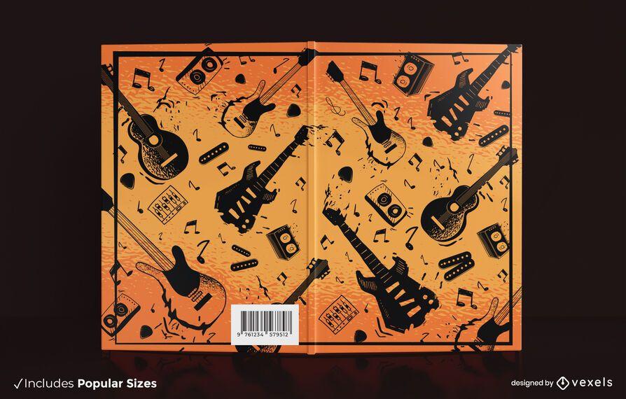 Diseño de portada de libro de guitarras eléctricas