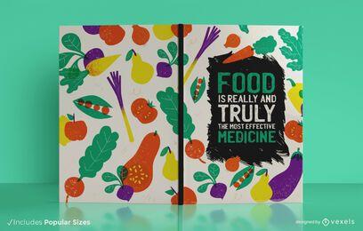 Diseño de portada de libro de diario de alimentos