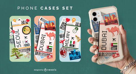 Conjunto de capa de telefone para bilhetes de avião