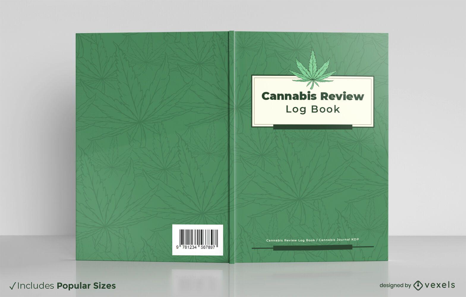 Design da capa do livro de registro de revisão de cannabis