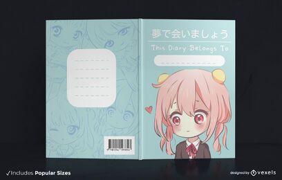 Diseño de portada de libro de anime chibi