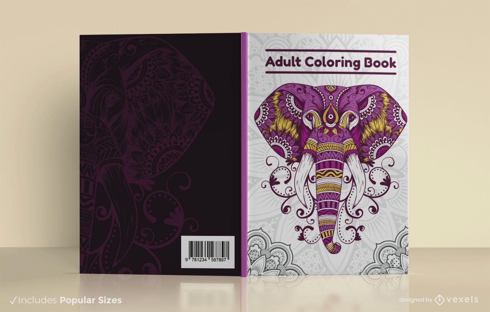 Diseño de portada de libro para colorear para adultos