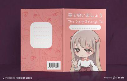 Diseño de portada de libro de anime chibi girl