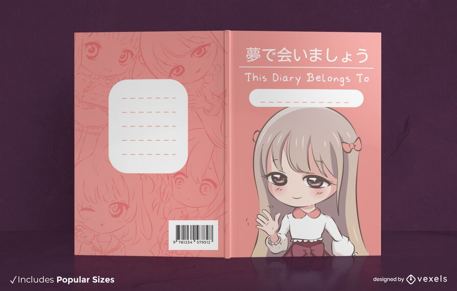 Anime chibi girl book cover design
