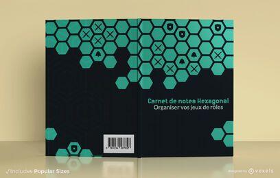 Design hexagonal da capa do caderno