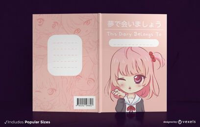Anime girl book cover design