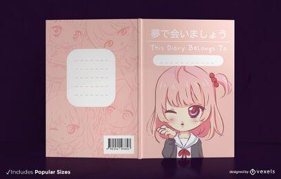 Design de capa de livro de anime para meninas