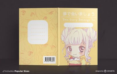 Diseño de portada de libro de anime girl chibi
