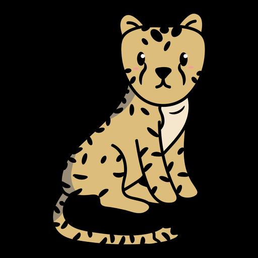 Cute cheetah sitting illustration
