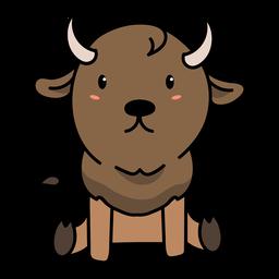 Cute bull sitting illustration