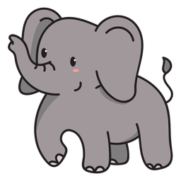 Cute elephant standing illustration