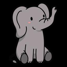Cute elephant sitting illustration