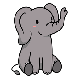 Lindo elefante sentado ilustración