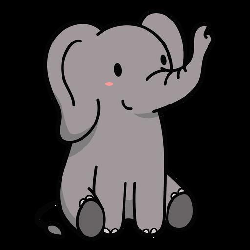 Ilustração de elefante fofo sentado