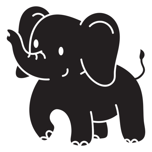 Lindo elefante de pie cortado